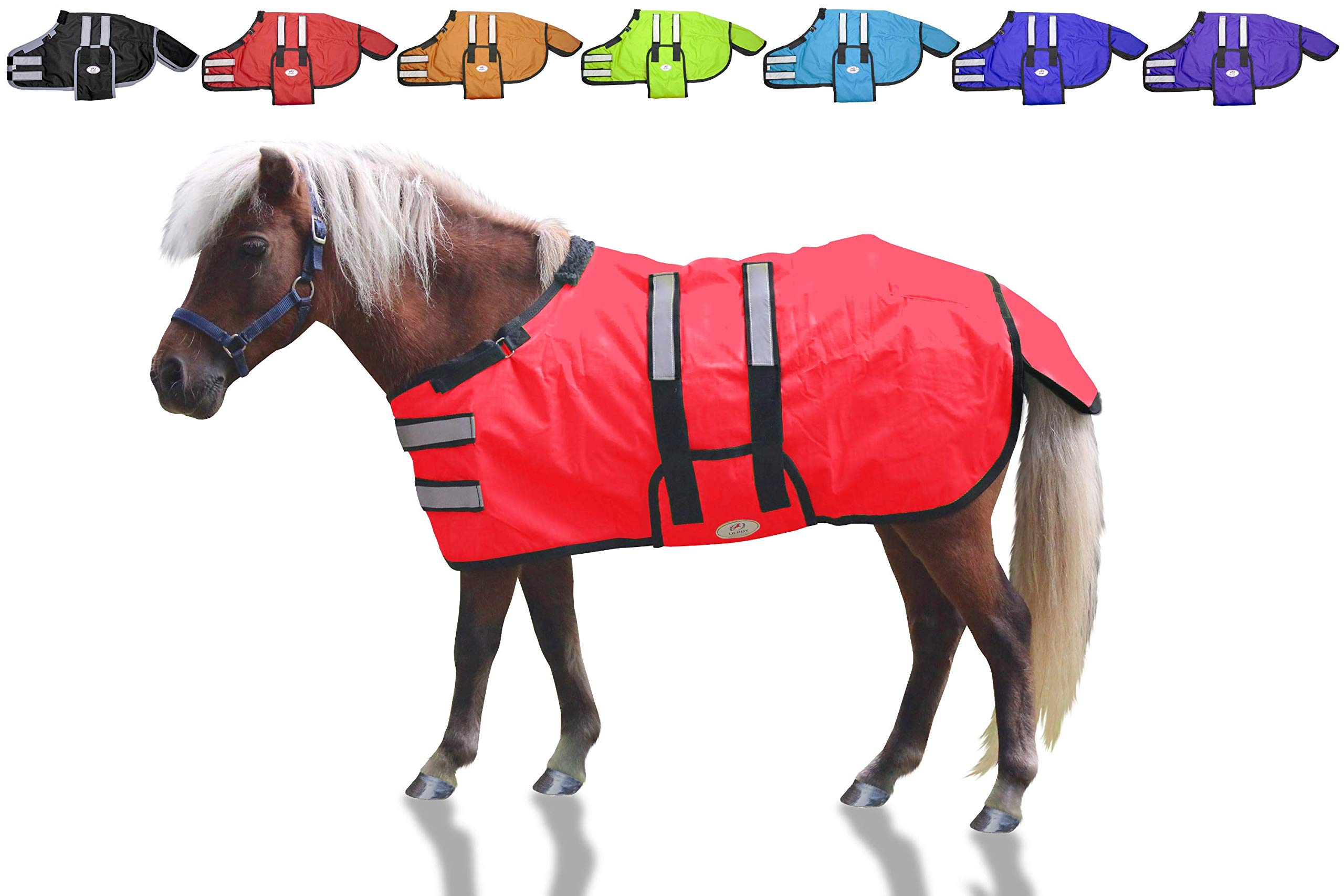 Derby Originals 600D Reflective Safety Winter Foal & Mini Horse Blanket with Warranty - Ripstop Breathable Waterproof Nylon No Hardware Turnout Blanket by Derby Originals