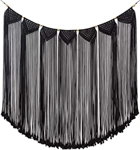 "Mkono Macrame Wall Hanging Curtain Fringe Garland Banner Bohemian Wall Decor Woven Home Decoration for Apartment Bedroom Living Room Gallery Baby Nursery, 47"" L X 28"" W"