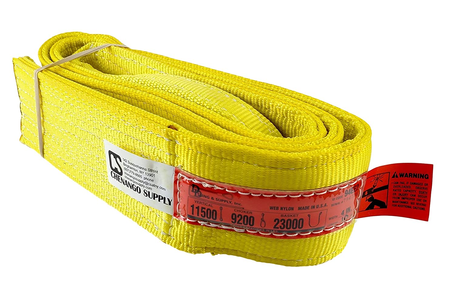 DD Sling (USA Made). 2' wide X (4' to 20' lengths) in Listing! 2 Ply Twisted Eye, Nylon Lifting Slings, Eye & Eye, Heavy Duty (900 webbing), 6,400 lbs Vertical, 5,100 Choker, 12,800 Basket Load Capacity (2inX20ft) Chenango Supply Co. Inc.