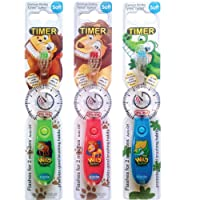 Children's Toothbrush with Flashing Timer - Pack of 3 for Boys - Wild Bunch