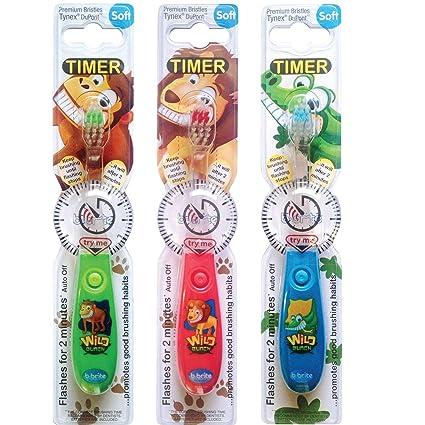 cepillo de dientes para niños con temporizador intermitente – Pack de 3 para niños – Wild