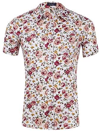 0dde0a3249 DOKKIA Men's Tropical Short Sleeve Floral Beach Party Luau Aloha Hawaiian  Shirt