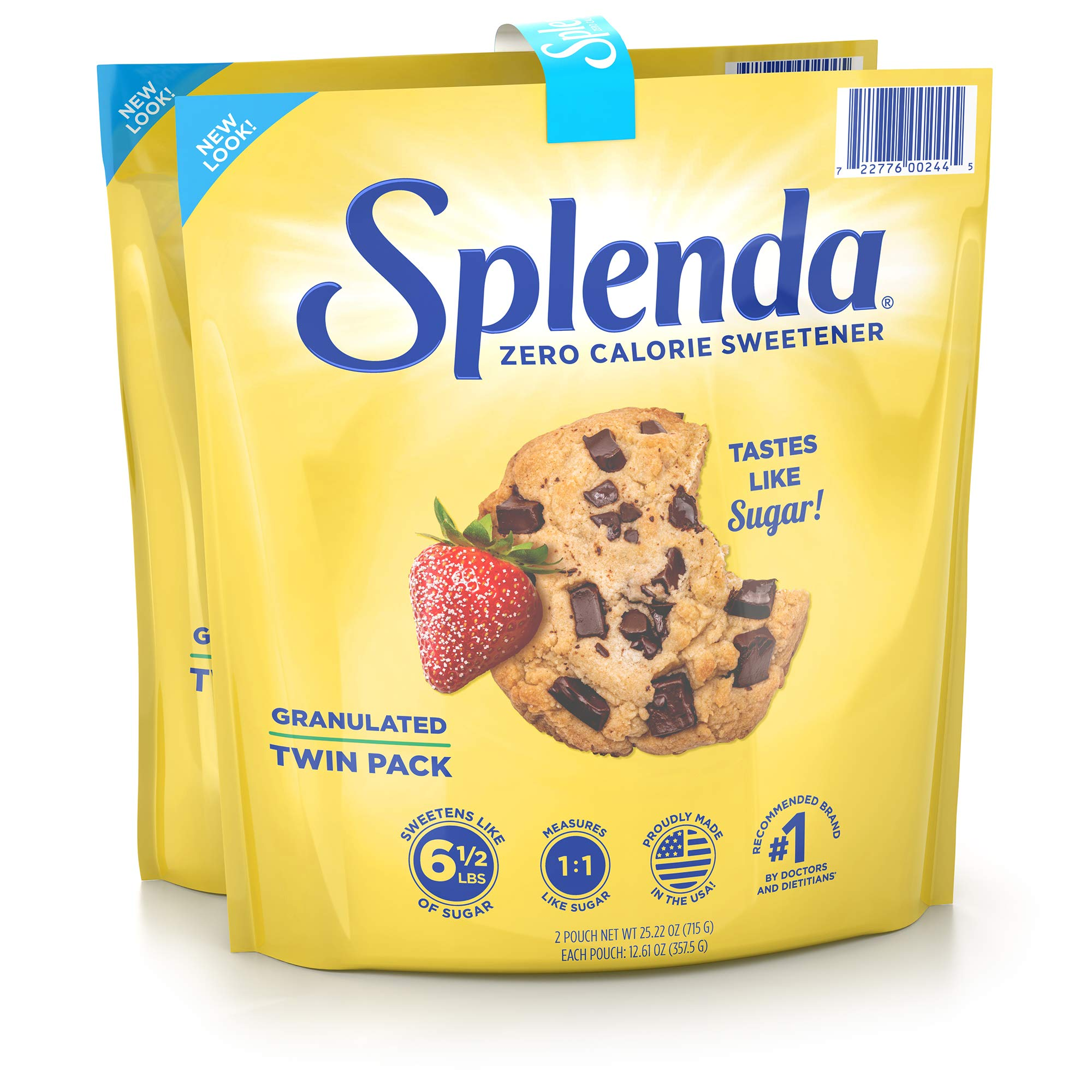SPLENDA No Calorie Sweetener, Granulated Sugar Substitute, Resealable Twin Pack Bags, 25.22 Ounce (Each Pouch: 12.61 oz)