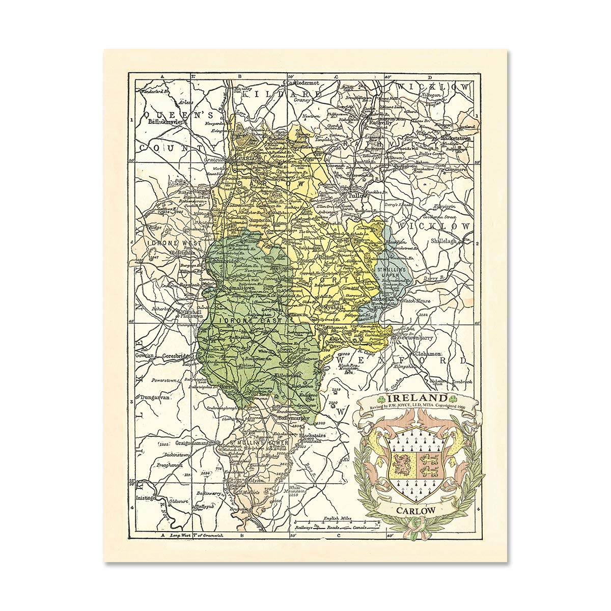 Carlow Map Of Ireland.Historic Families Carlow County Map Of Ireland Antique Reproduction Print