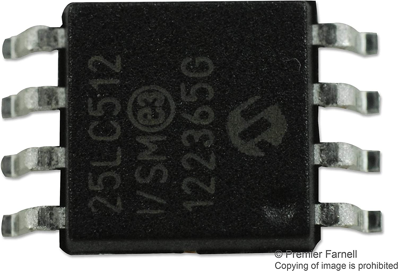 20 MHz Serial SPI Pack of 20 25LC512-I//SM 8 Pins 512 Kbit 25LC512-I//SM SOIJ 64K x 8bit EEPROM