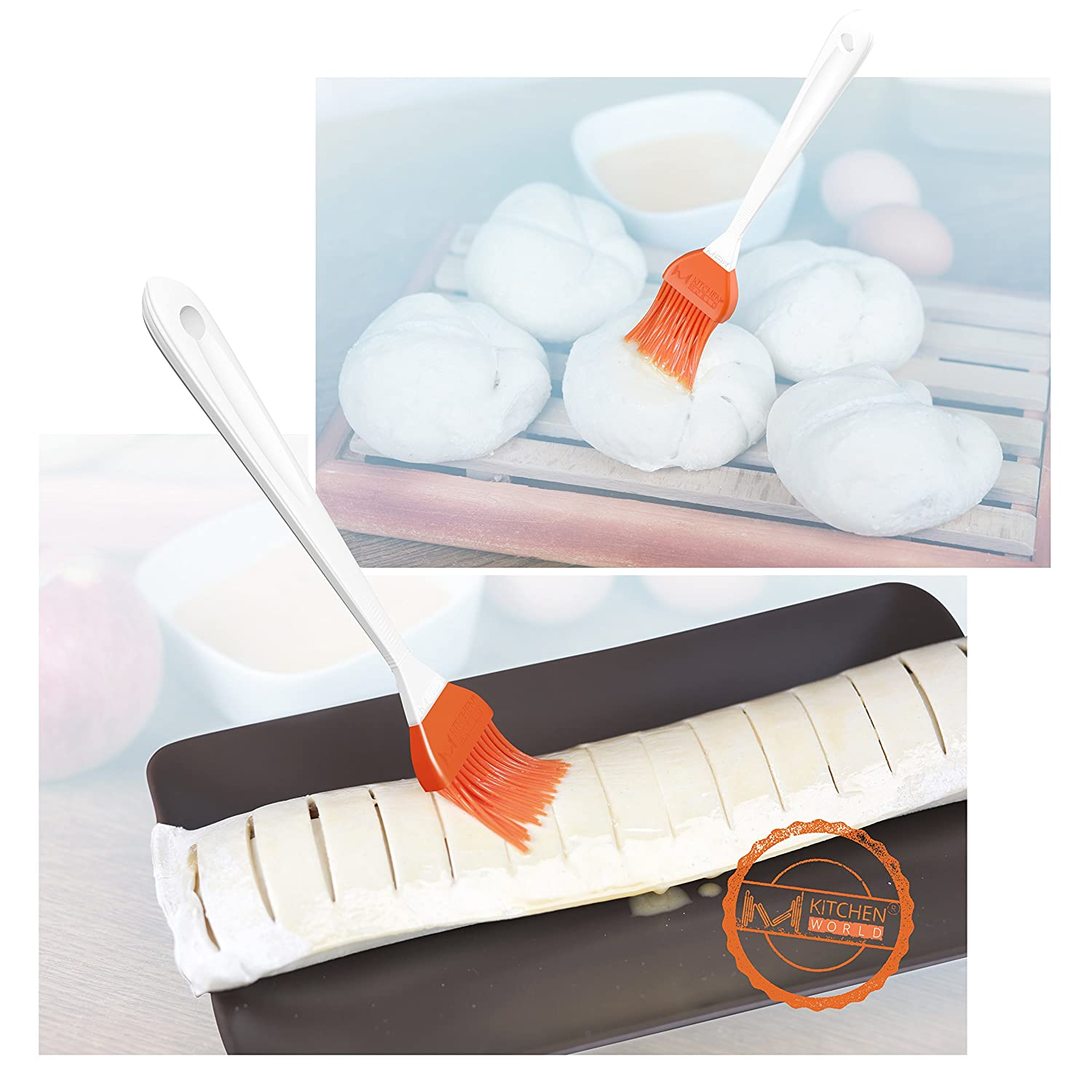 M KITCHEN WORLD Silicone Basting  BBQ Pastry and Oil Brush Orange Turkey Baster Barbecue Utensil