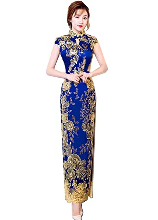 8dd565ffc02 Amazon.com  Shanghai Story Keyhole Long Cheongsam Lace Sequins Qipao Dress  Women  Clothing