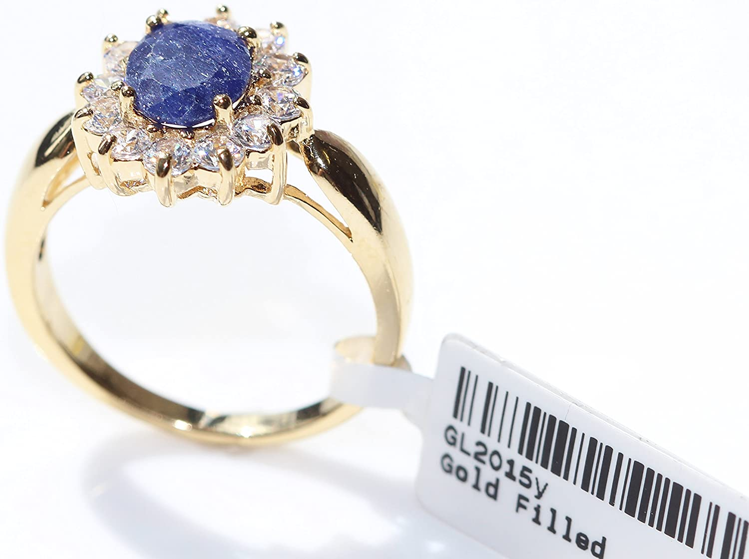 Jewellery/® Gold Filled Genuine Precious 1.45ct SAPPHIRE Gemstone Surrounded By Small Brilliant Clear Rounds Ring Solitaire Setting. Ah Stamped GL UK Guarantee 3/µ