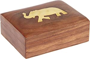 ShalinIndia Playing Card Deck Case Holder Wood Box India Decor- Handcrafted Unique Gifts