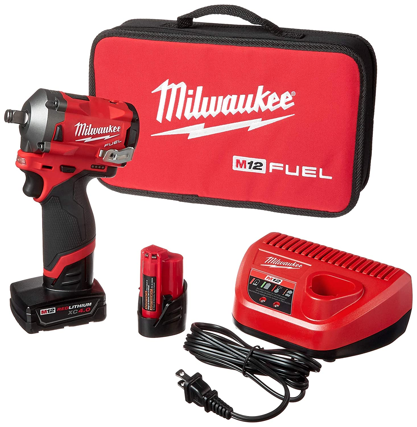 Milwaukee 2555-22 M12 FUEL 12-Volt Lithium-Ion Brushless Cordless Stubby 1 2 in. Impact Wrench Kit with One 4.0 and One 2.0Ah Batteries
