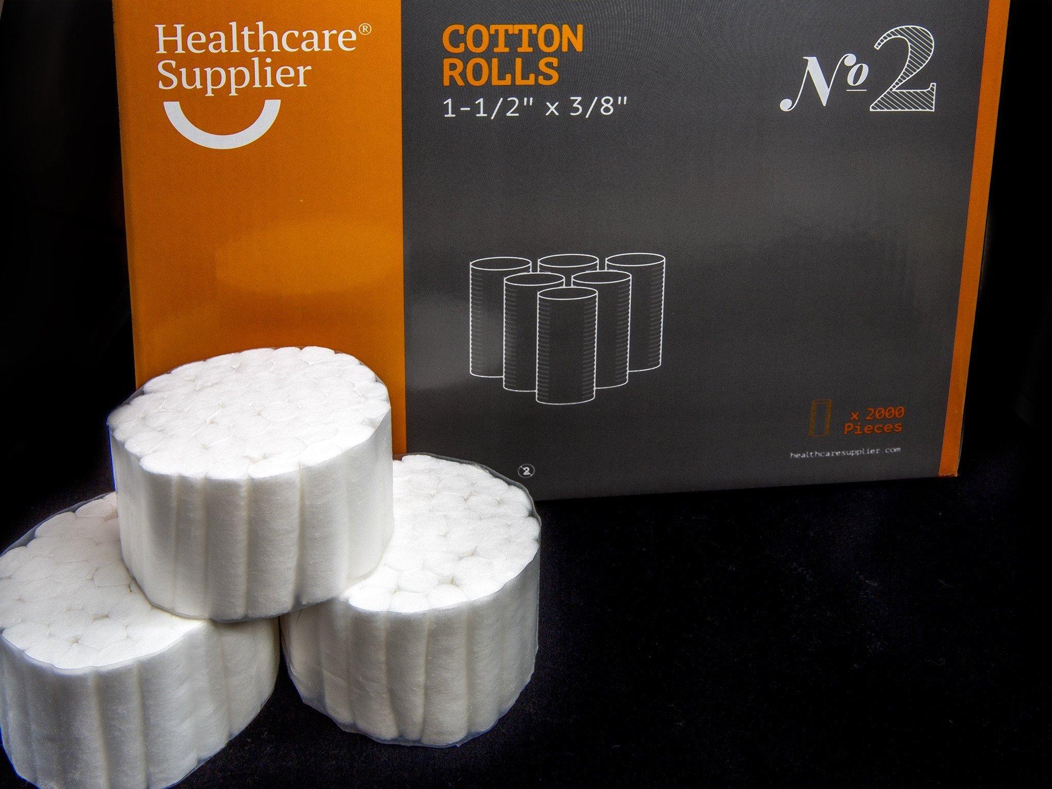 HEALTHCARE SUPPLIER Cotton Dental Rolls Size 2 (2000 Count) Professional Dental Supplies