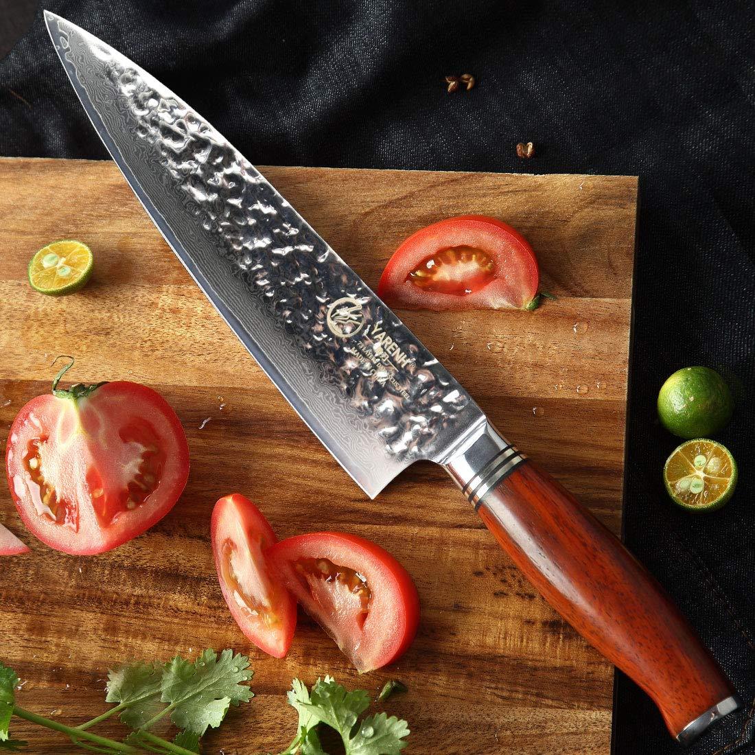 YARENH Cuchillos de Cocina Profesionales de 20 cm,Cuchillos Masterchef de Acero de Japones Damasco,Mango de Madera Dalbergia,Cuchillo de Chef Ultra ...