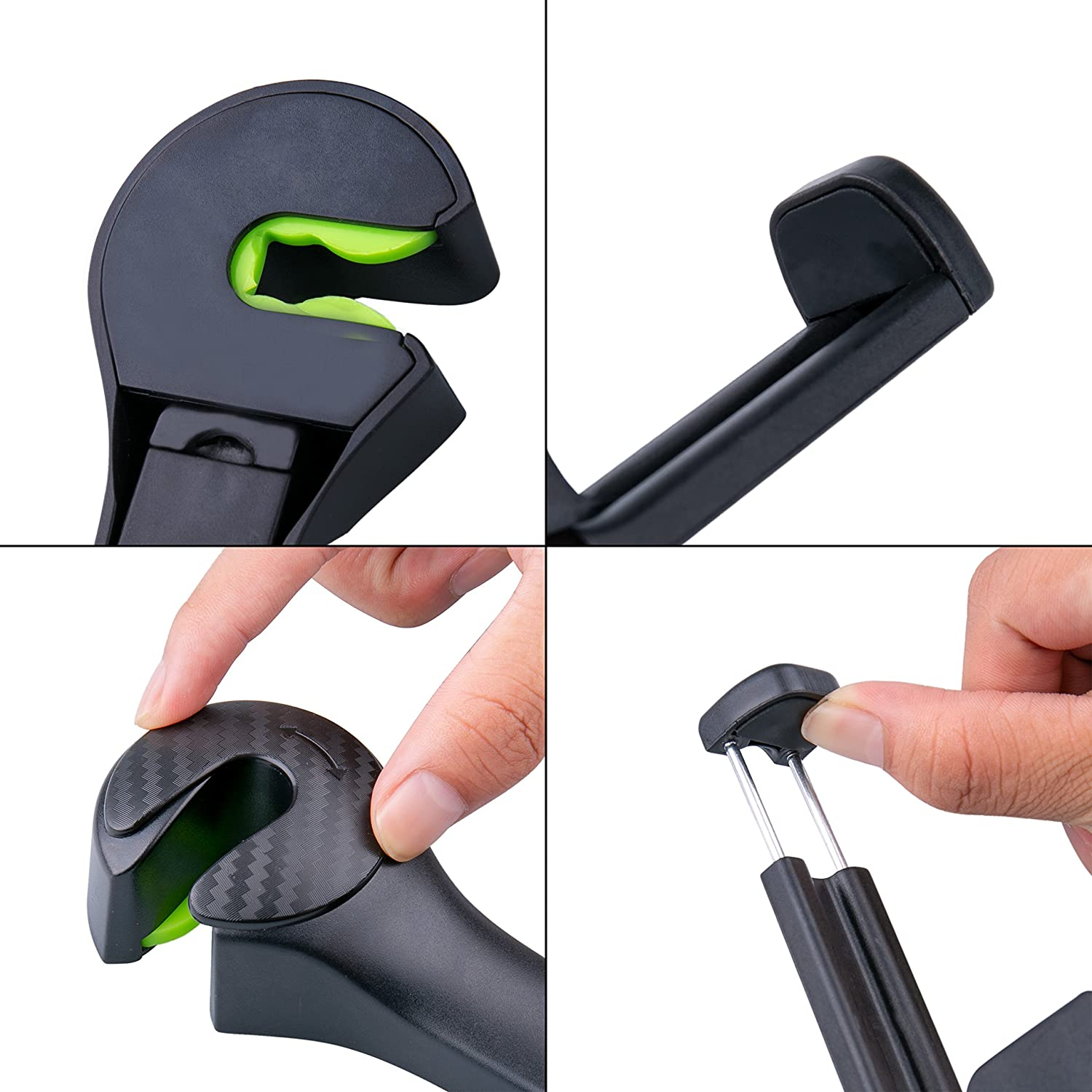 2 PCS Universal Car Seat Headrest Phone Mount and Back Seat Hook for Hanging Bag Black Tintec Car Back Seat Hook Purse Cloth Grocery