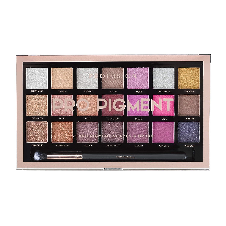 Profusion Cosmetics 21シェードアイシャドーパレットコレクション&ブラシ, Pro Pigments B07N8Y32GW
