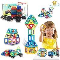 HOMOFY Bloques de Construcción Magnéticos para niños- 48 Piezas Juego de Juguetes Magnéticos Conjunto de Bloques de…