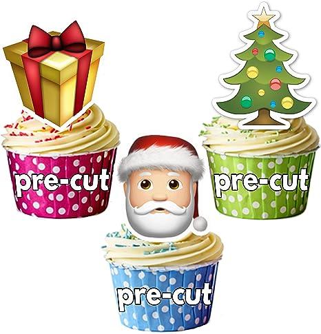 Árbol de Navidad precortado Emoji snowflske – Pack para fiesta de regalo de Papá Noel comestible cupcake toppers/decoración para tarta, (Pack de 36): Amazon.es: Hogar