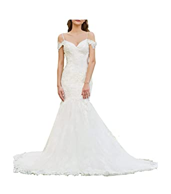 e34526c5a21 GBWD Women s Wedding Dresses Outdoor Off-Shoulder Spaghetti Straps Mermaid Bridal  Gowns with Brush Train