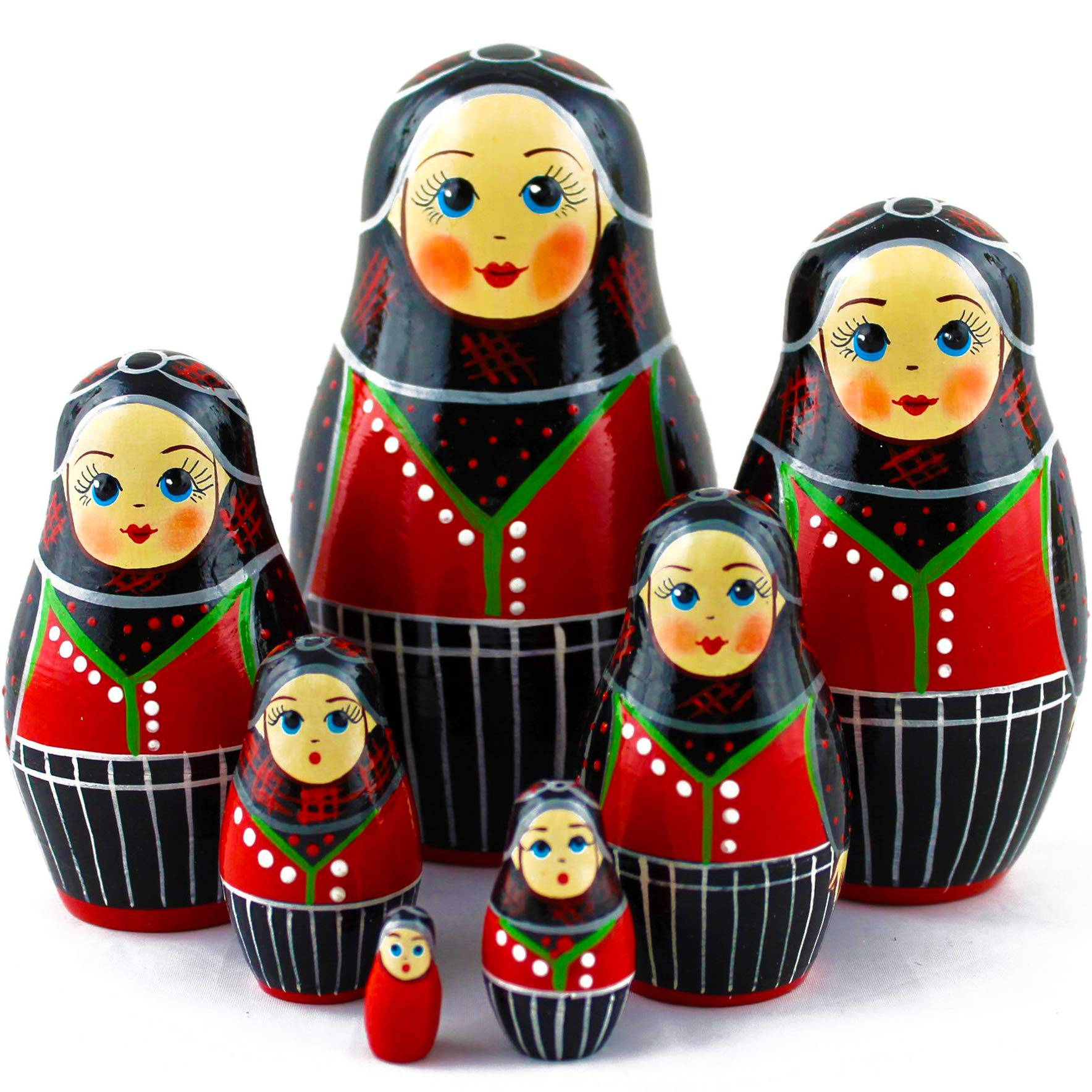 Wooden Nesting Dolls - Matryoshka Dolls Danish Folk Costume Set 7 pcs by MATRYOSHKA&HANDICRAFT