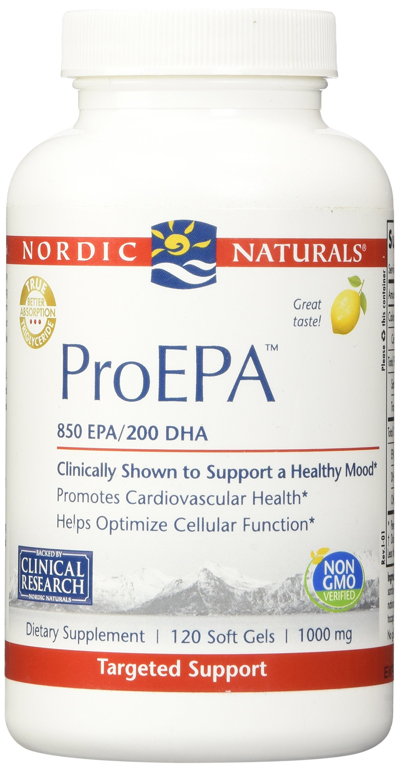 Nordic Naturals Pro - ProEPA, Promotes Cardiovascular Health, Supports Gastrointestinal Health and a Healthy Mood - Lemon Flavored 120 Soft Gels