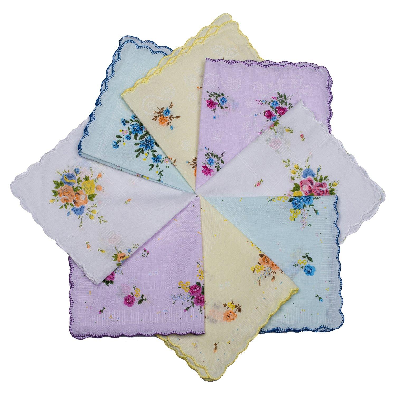 Star Heaven Ladies Handkerchiefs Cotton Hankies Vintage Inspired Floral Design - 10, 12, 24 PCS