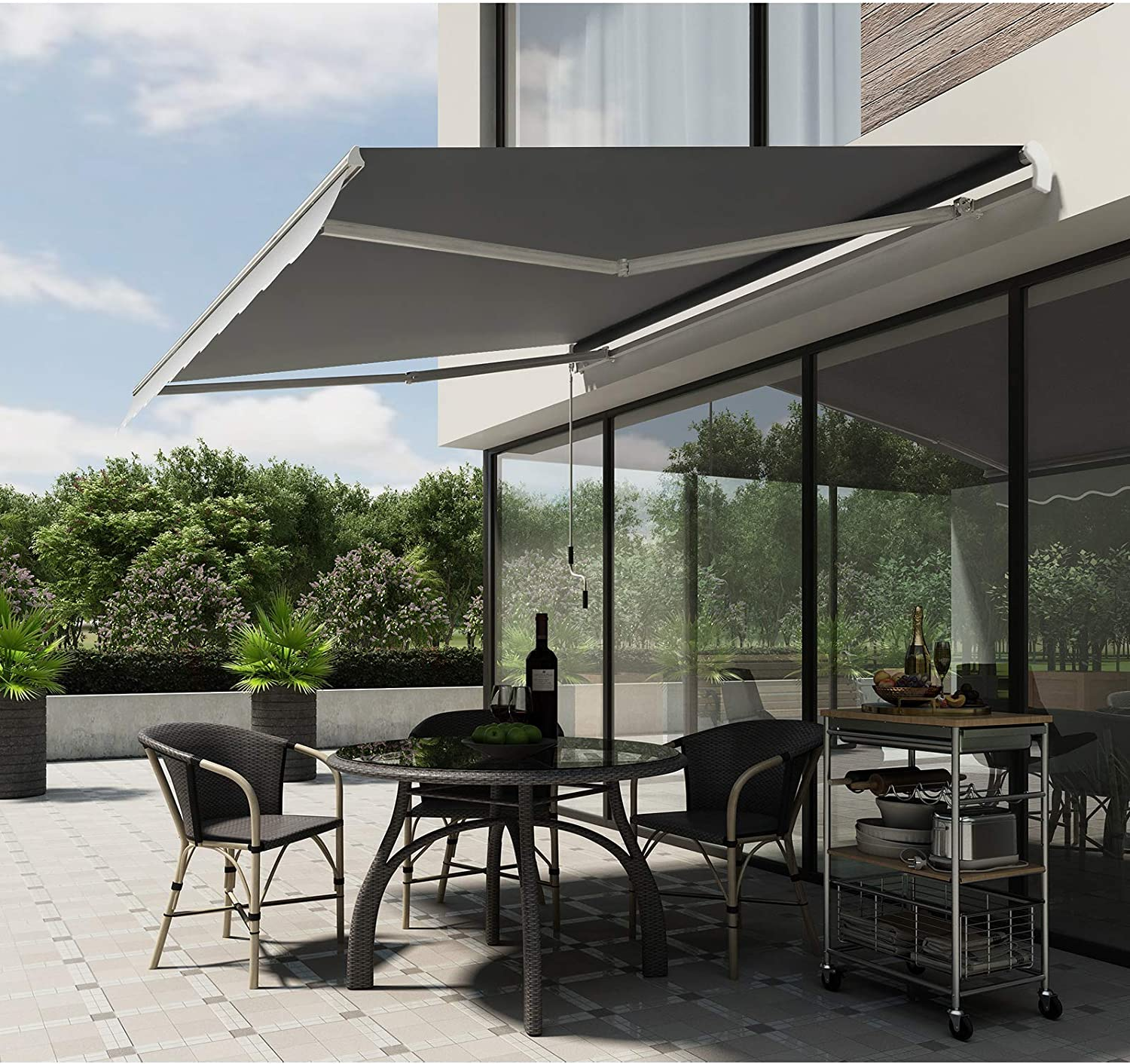 SONGMICS GRA35GY - Toldo con manivela (350 x 250 cm), Color Gris: Amazon.es: Jardín
