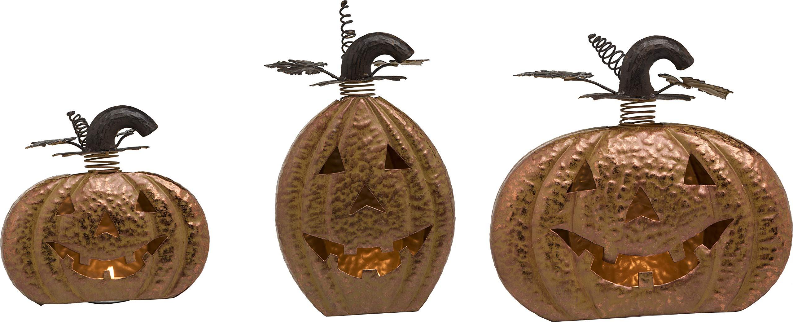 Transpac Imports, Inc. Classic Jack-O-Lantern Bronze 13 x 11 Tin Halloween Tea Light Holders Set of 3