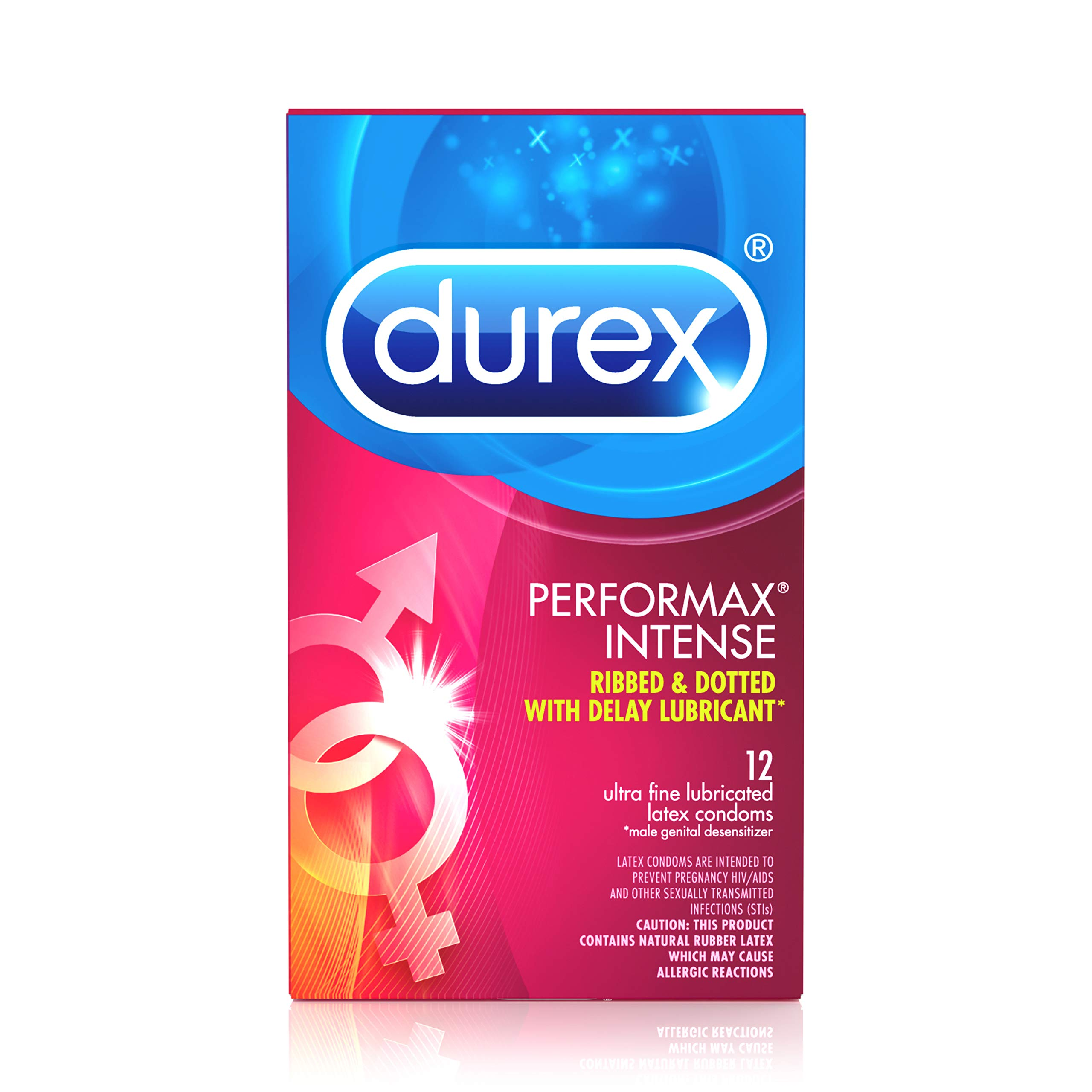 Condoms, Ultra Fine, Ribbed, Dotted with Delay Lubricant, Durex Performax Intense Natural Rubber Latex Condoms, 12 Count, Contains Desensitizing Lube for Men, FSA & HSA Eligible