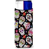 Caroline's Treasures Day of The Dead black Michelob Ultra Hugger For Slim Cans, Slim Can, Multicolor