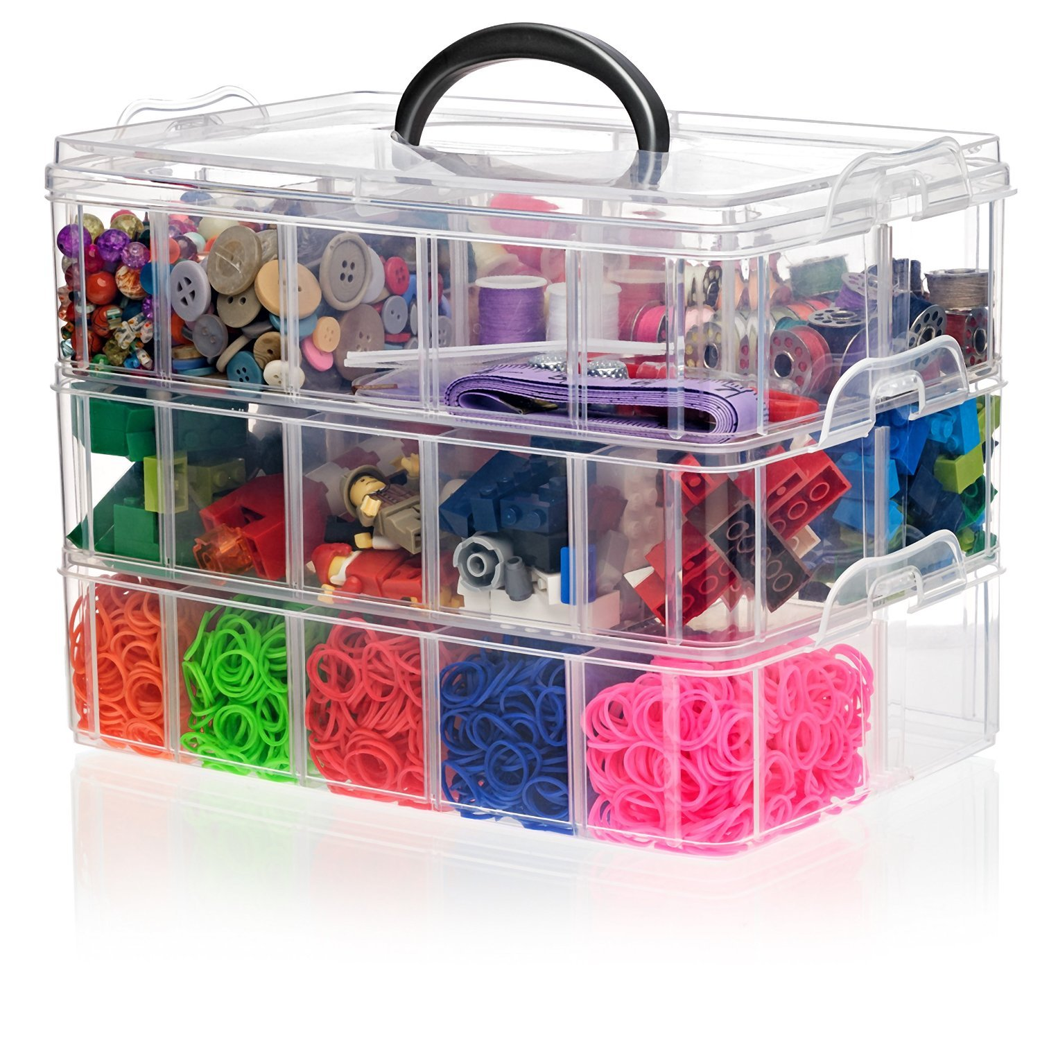 SnapCube Stackable Arts & Crafts Case, 3-Tier Clear Stackable Storage Box with Compartments, On-The-Go Craft Keeper, Jewelry Box, Bead Organizer Case, Kids Jewellery Box w/ Dividers, Tool Storage Box by California Home Goods