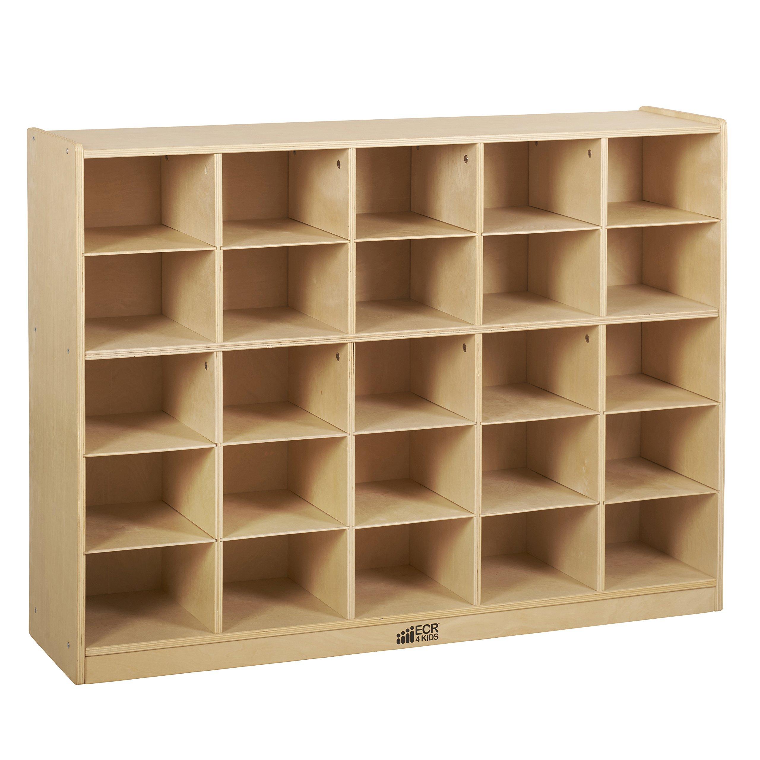 ECR4Kids Birch 25 Cubbie Tray Cabinet
