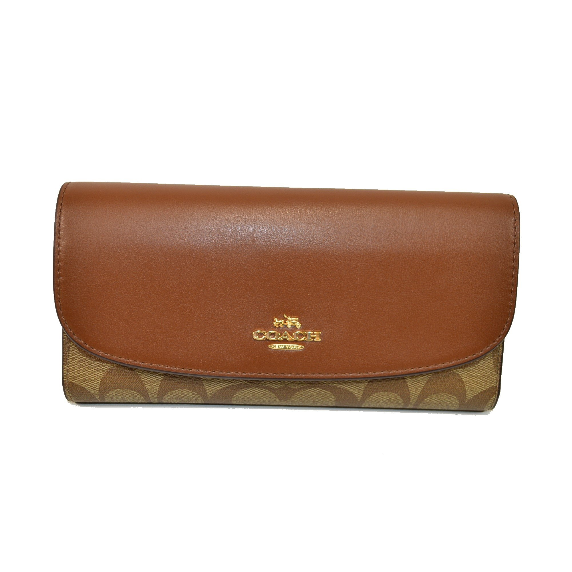 Coach Signature PVC Checkbook Wallet Khaki / Saddle F57319