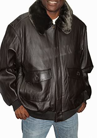 United Face Leather Bomber Jacket with Zip Out Fur Collar-Brown ...