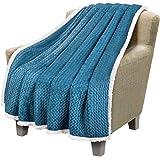Catalonia 夏尔巴抱毯,超柔软舒适蓬松毛绒毛毯,适用于沙发沙发床,四季可穿,适合成年人使用 127 厘米 x 152.4 厘米雪佛龙 蓝色 1CTBF320BL