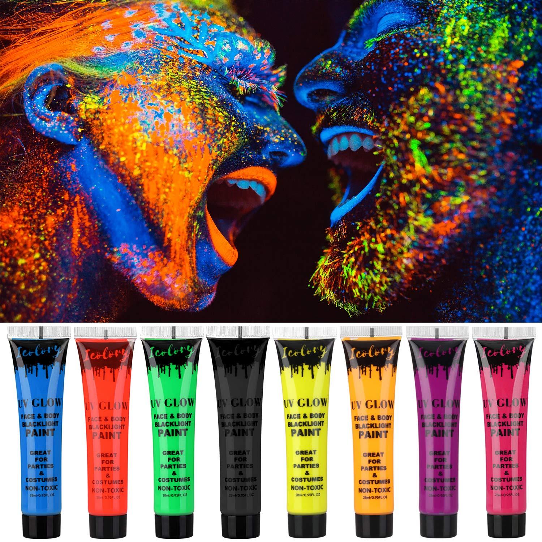 Amazon.com   Makeup Cream Face Paint UV Glow Body Paint 8 Bottles UV  Reactive Fluorescent Pigment Set 0.95 oz. Big Bottle   Beauty 3a32e19c69