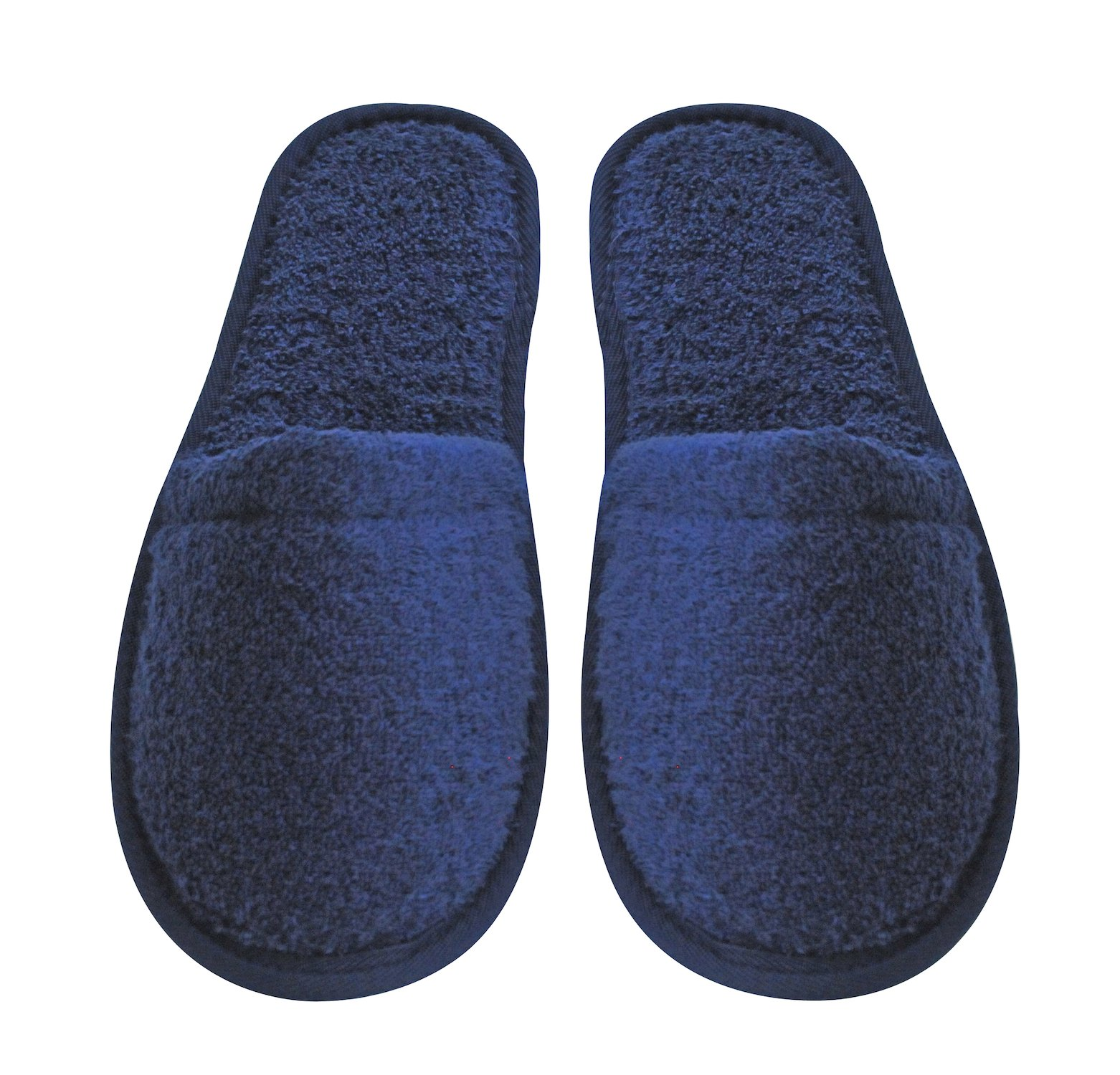 Arus Men's Turkish Terry Cotton Cloth Spa Slippers, One Size Fits Most, Navy Blue with Black Sole