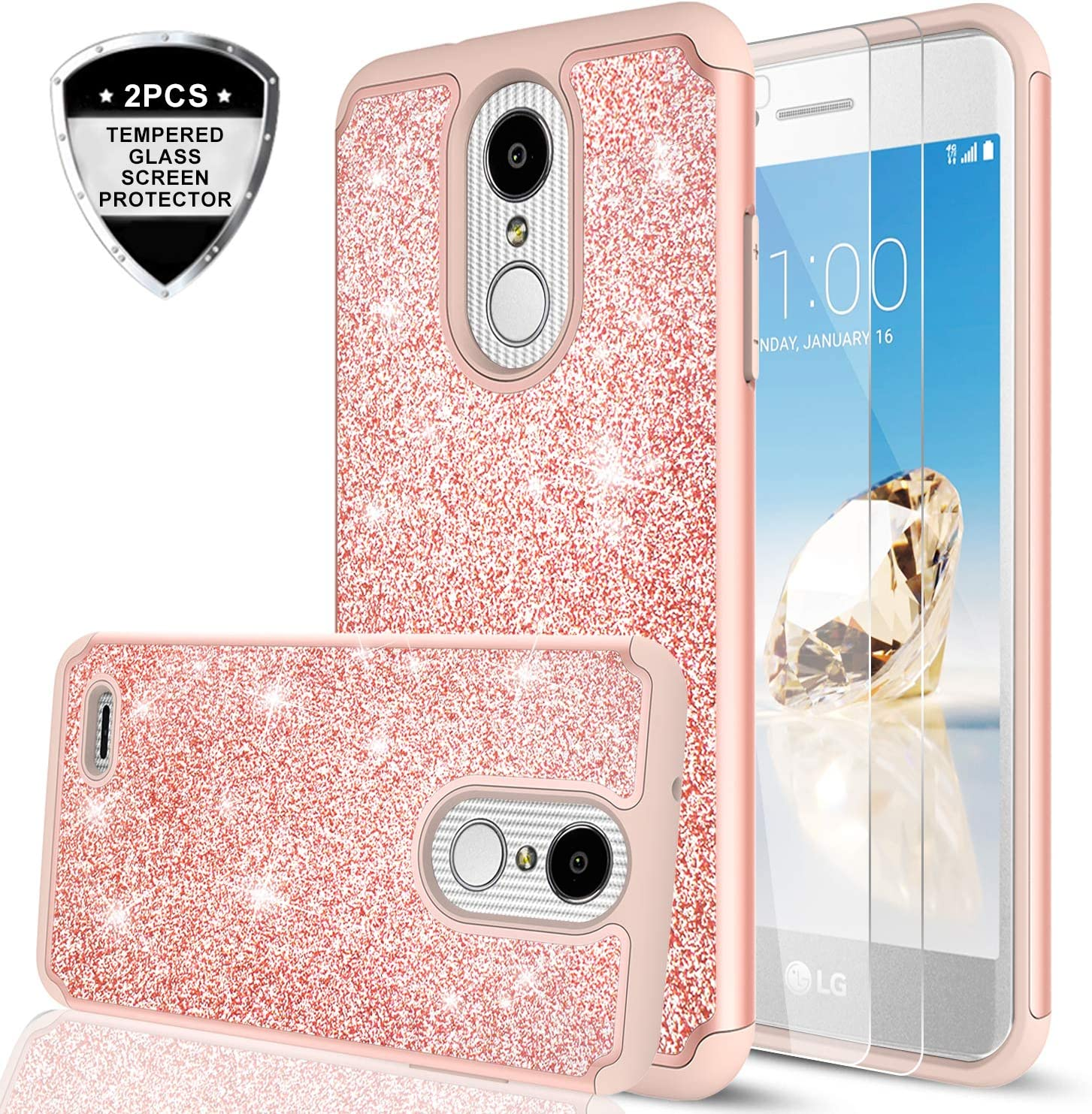 LG Aristo 2 Case, LG Aristo 3/ Tribute Dynasty/Phoenix 4/ Rebel 4/ Aristo 2 Plus/Fortune 2/ Rebel 3 Case w/2PCS Tempered Glass Screen Protector, LeYi Glitter Case for LG K8 Plus 2018 Rose Gold