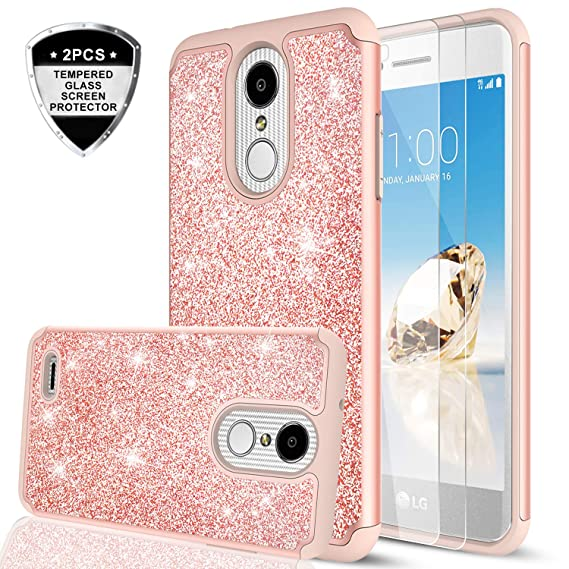 new arrival afe42 a4c90 LG Aristo 2 Case, LG Aristo 3/ Tribute Dynasty/Phoenix 4/ Rebel 4/ Aristo 2  Plus/Fortune 2/ Rebel 3 Case w/2PCS Tempered Glass Screen Protector, LeYi  ...