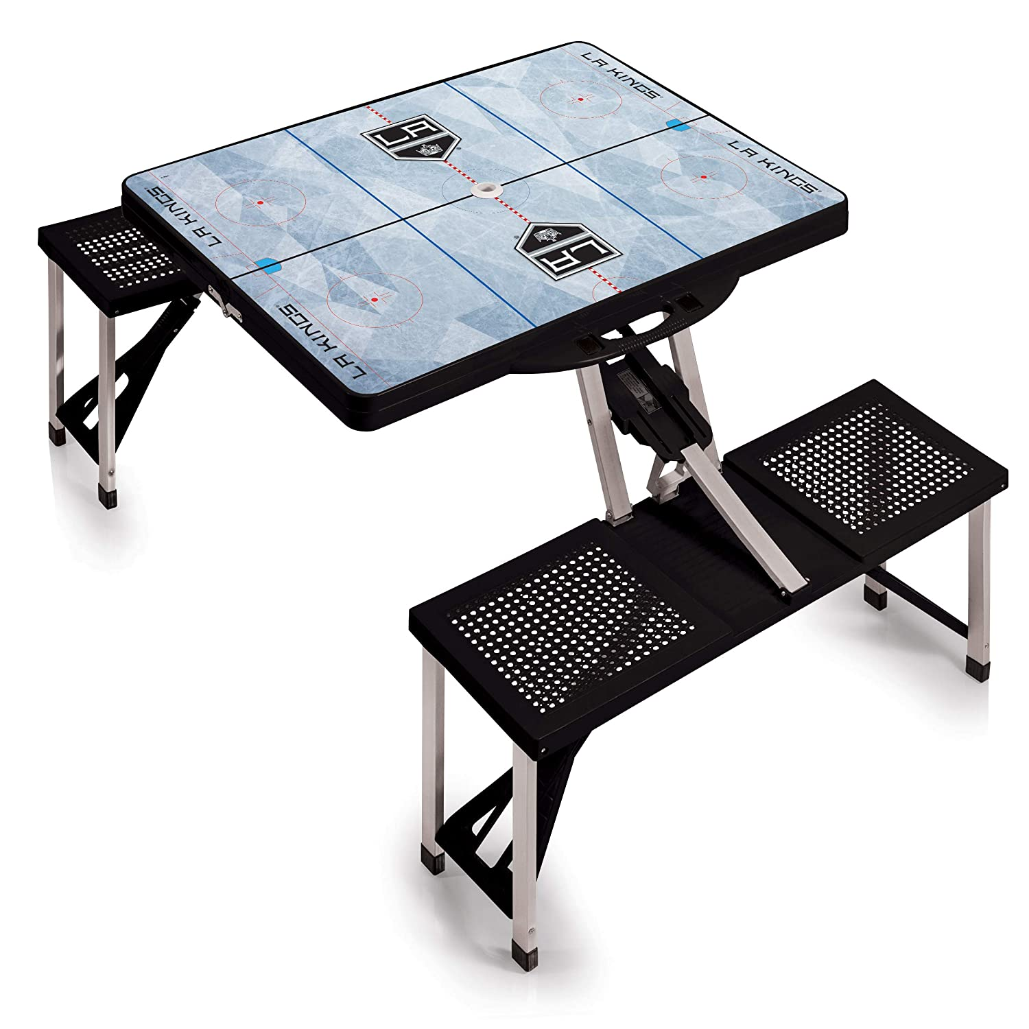 Black NHL Los Angeles Kings Portable Folding Picnic Table with Seating for 4