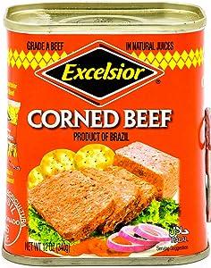 EXCELSIOR Corned Beef, 12 oz, Halal, Grade A Corned Beef In Natural Juices