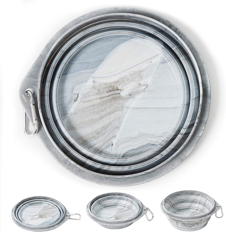 HolaStar Silicone Collapsible Dog Bowl (Marble Pattern, 35oz/1000ml) for Medium Large Dog Pet Travel Hiking Dog Bowl with Carabiner