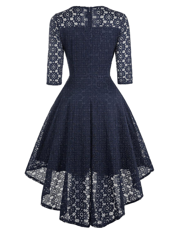 Klandchic Vintage SpitzenKleid mit 1/2-Ärmel Frack, Vokuhila Kleid ...