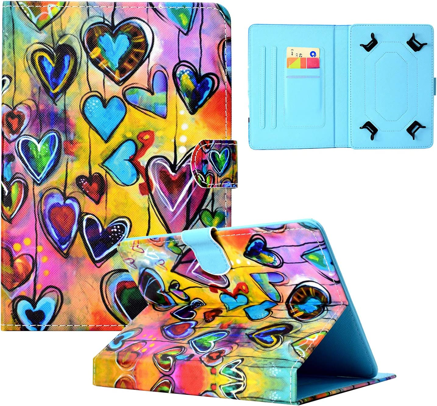 Dteck Slim Lightweight Wallet Stand Cute Flip Case for Samsung Galaxy Tab T307/Lenovo/Onn/Huawei/Dragon Touch/MatrixPad/LG G Pad/Google Nexus/Android Tablet 8 8.0 8.1 8.3 8.4 8.9 Inch (Love Hearts)