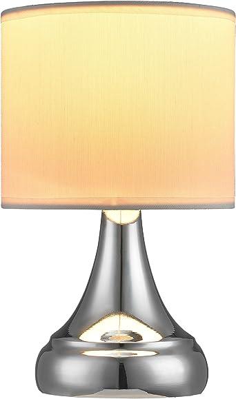 lux.pro] Moderna Lámpara de Mesa - cromo/blanco (E14) - Lámparas ...