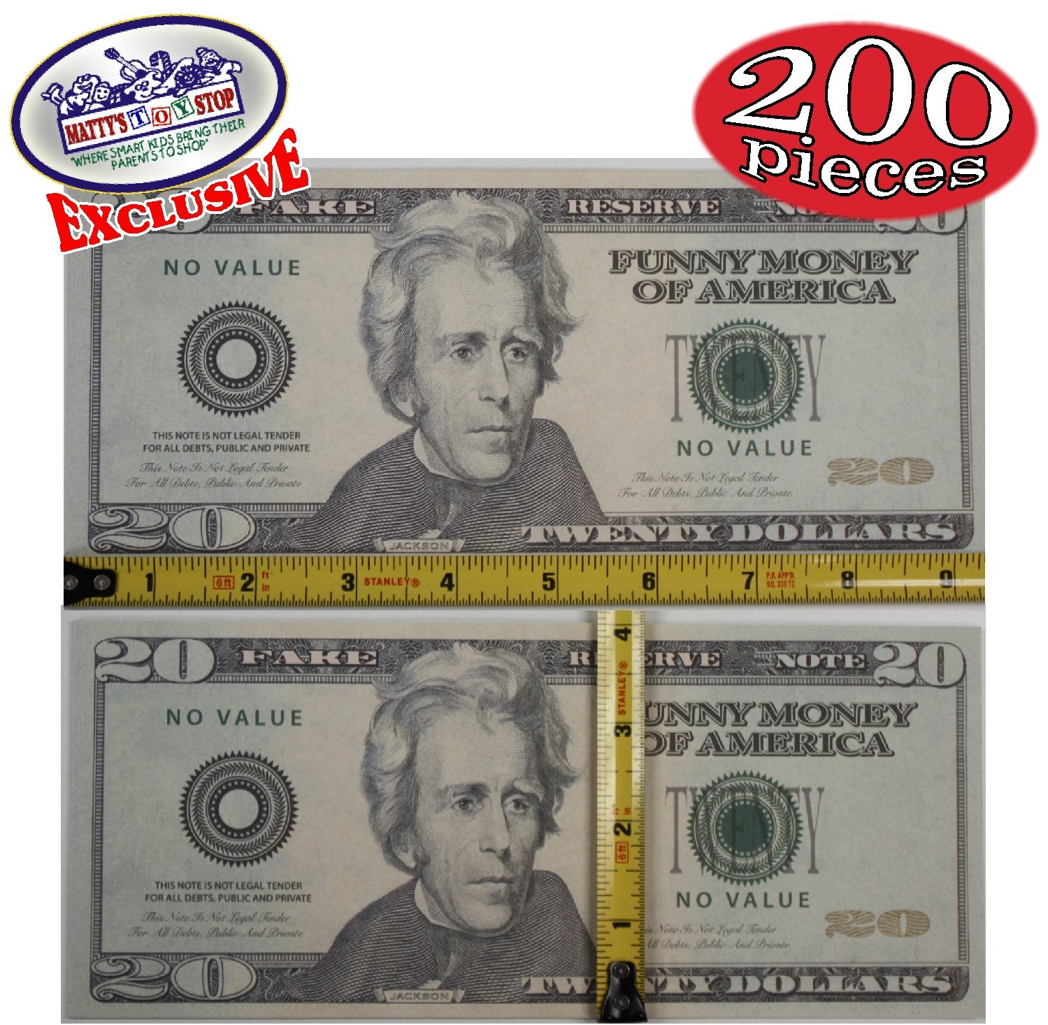 Oversized Fake Replica Play Money - Set of 200 Large Replica Bills (40 each of $1's, $5's, $10's, $20's & $100's)