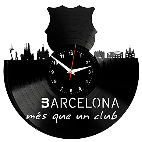 EVEVO Barcelona Reloj de Pared Vinilo Tocadiscos Retro de Reloj Grande Relojes Style habitación Home Decoración