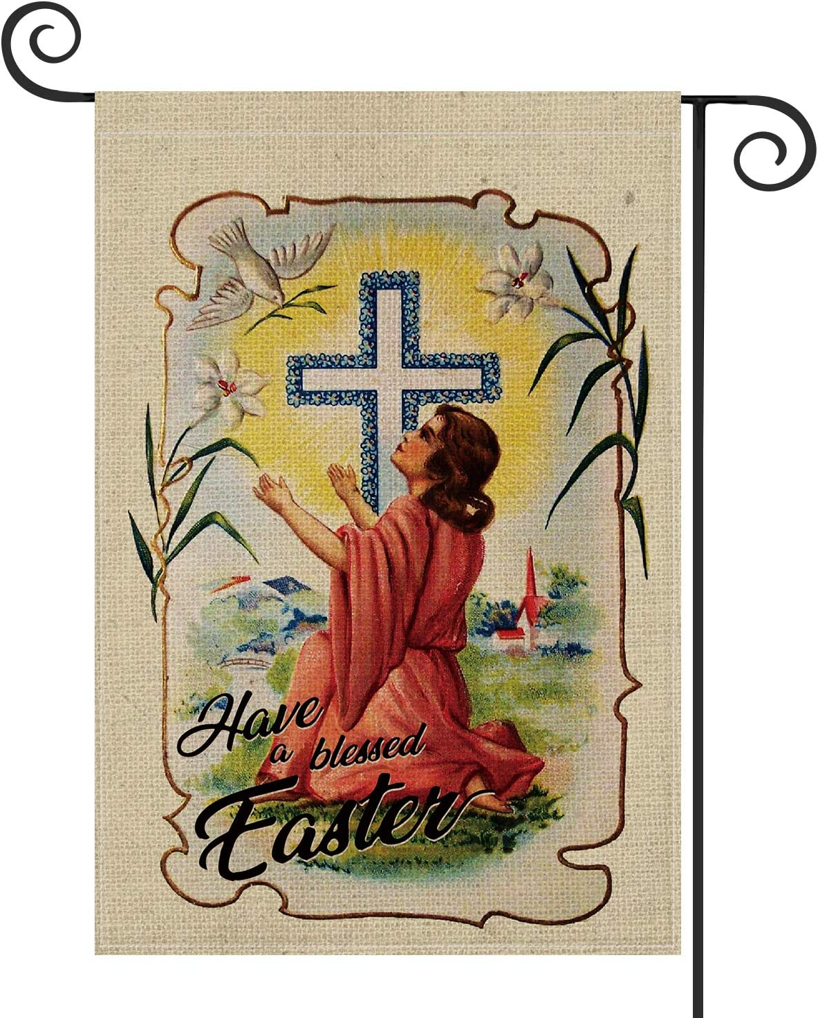AVOIN Have a Blessed Easter Garden Flag Vertical Double Sized, Dove Lily Cross Yard Outdoor Decoration 12.5 x 18 Inch