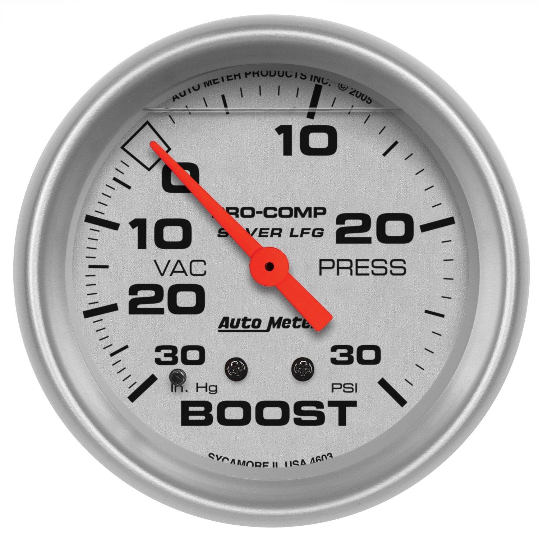Auto Meter 4603 Silver LFGs Boost/Vacuum Gauge by AUTO METER