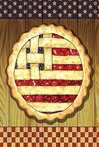 Toland Home Garden American Lattice Pie 12.5 x 18 Inch Decorative Summer Fruit Dessert July 4 Stars Stripes USA Garden Flag