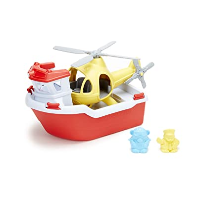 Green Toys Rescue Boat with Helicopter: Toys & Games