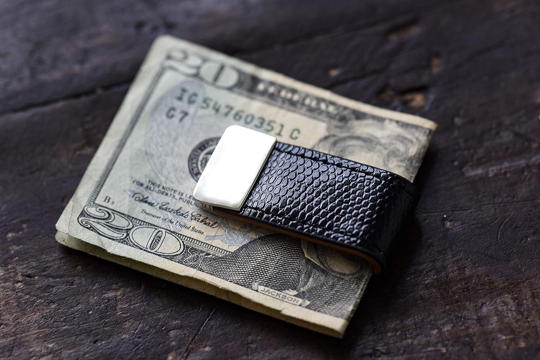 Clip Pince /à billets Money Clip FA.WESSEL Pince /à billets en cuir avec acier inoxydable et /él/égant pour homme avec style et classe Clip pour monnaie Marron//blanc 58x25mm